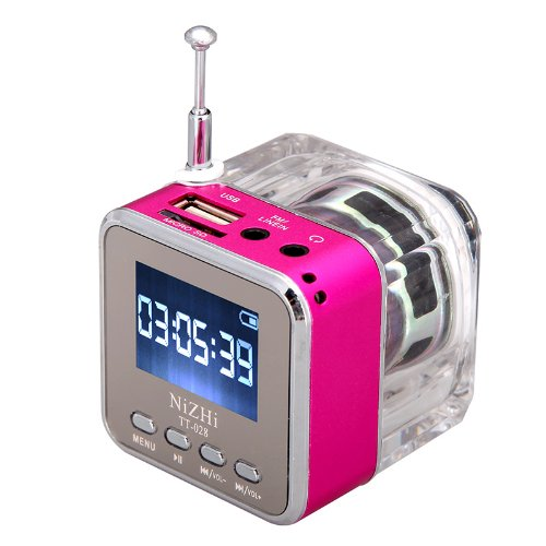 Tomtop Mini Digital Portable Music Mp3/4 Player Micro Sd/Tf Usb Disk Speaker Fm Radio (Rose)