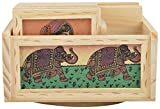 RAJKRUTI wooden handicraft Handmade office set of pen stand tea coaster etc (15 Cm X 16 Cm X 9Cm, Wooden)