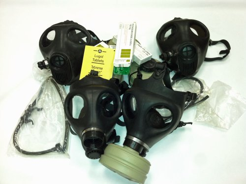 NBC Protective Family Kit - 2 Adult + 2 Children gas mask W/ Original Type 80 Filter, 2 Drinking Tubes, 20 Potassium Iodine 130 Mg Tablets