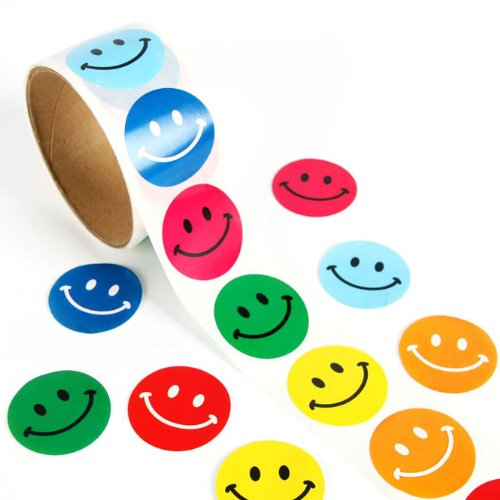 10 Rolls of Smile Face Stickers, 100 Stickers / Roll, Party Suppliers