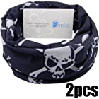 Shells® 2Pack Black Skull Pattern Polyester Microfiber Outdoor Sport Magic Multifunction No Seam Headscarf Headwear Face Mask Neck Warmer For Motorcycle Bike Ski Outdoor activities