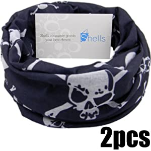 Buy Shells® 2PCS Black Skull Pattern Polyester Microfiber Outdoor Sport Magic Multifunction No Seam Headscarf Headwear... by Shells Group