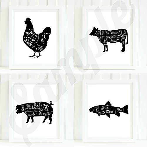 Farm Animals Butcher Cut Chalkboard 8x10 Cursive Print Set (Butcher Farm Animals compare prices)