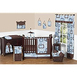 Contemporary Blue and Brown Geometric Modern Baby Boy Bedding 11pc Crib Set without bumper