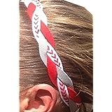 It S Ridic No Slip Grip Non-Slip Sports Athletic Nylon Triple Braided Sports Headband Red | White With Red Seam...