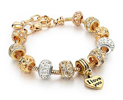 TBS - Bracelet Charm - Sterling Silver Gold Plated and Austrian Crystal Encrusted Beads Pandora's Myth 'Exclusive Collection
