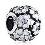Primrose Meadow Charms 925 Sterling Silver Clear CZ Stone Charm for European Bracelet (White)