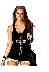 Womens Black Studded Cross Vest Top