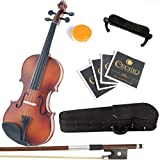 Mendini MV300 Satin Solid Wood Violin + Extra set of Strings, Shoulder Rest, Bow, Rosin & Case in 4/4 (Full Size)