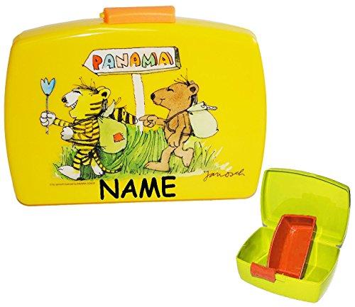 """Lunchbox / Brotdose - """" Janosch & die Tigerente - Tiger & Bär """" incl. Namen - mit extra herausnehmbaren Einsatz - Brotbüchse - Tier - Küche Essen für Mädchen & Jungen - Trennwand / Tiere Panama - Kinder Vesperdose - Brotzeitdose"""