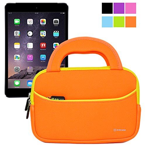 Evecase Ultraportable Handle Carrying Portfolio Neoprene Sleeve Case Bag For Apple Ipad Mini 3 / Ipad Mini 2 With Retina Display / Ipad Mini 1Sty - Orange