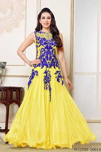 Whatshop Karishma Kapoor Amazing Designer Long Yellow and Blue Anarkali Suits