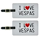 I Love Vespas Written on Paper Luggage Suitcase Carry-On ID Tags Set...