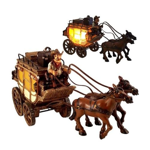 Iwgac Home Office Indoor Western Cowboy Gus Stagecoach Nightlight Decor Lamp front-245669