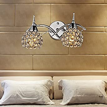 Modern 2 Head Corridor Crystal Wall Lights Bedroom Bedside Wall Sconces Mirror Front Bthroom ...