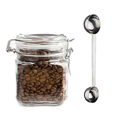 "8"" Premium Quality Stainless Steel Dual Scoop Coffee Spoon, 2 tbsp and 1 tbsp"