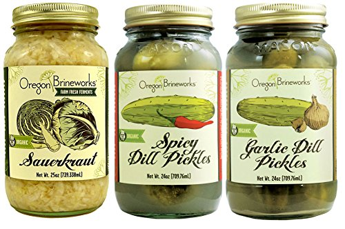 Economy Size Sampler Pack, Organic Raw, Fermented Classic Sauerkraut, Garlic Dill Pickles, and Spicy Dill Pickles. 25 oz each (Raw Organic Pickles compare prices)