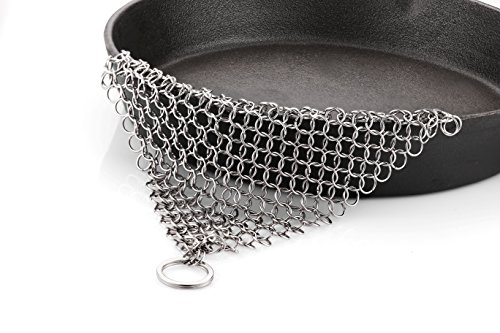 Chainmail Scrubber StarVast Kitchen Cleaning Tool 316L XL Stainless Steel Finger Cleaner Ringer for Cast Iron Cookware