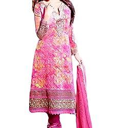 Reet Glamour Women 's Georgette Unstitched Pink Salwar Kameez