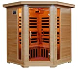 51RDTYd%2BOCL. SL160  4 Person Corner Sauna FAR Infrared 10 Carbon Heaters Hemlock CD Player MP3 Aux New