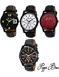 Pappi Boss Combo Of 4 Leather Analog Watch For Men's, Boys