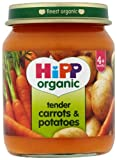 HiPP Organic Stage 1 From 4 Months Tender Carrots and Potatoes 6 x 125 g (Pack of 2, Total 12 Pots)
