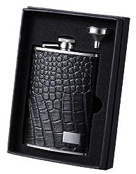 Visol Alligator Patterned Leather Liquor Flask, 8-Ounce