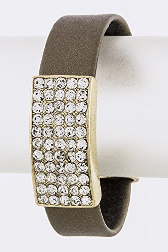 Trendy Fashion Jewelry Crystal Accent Leather Cuff By Fashion Destination | (Bronze)