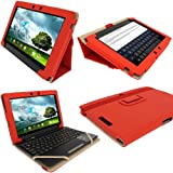 "igadgitz Étui Housse 'Portfolio' Rouge en Cuir PU pour Asus Eee Pad Transformer & Dock Clavier TF300 TF300T TF300TG & TF300TL 10.1"" Android Tablette"