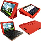 iGadgitz Red 'Portfolio' PU Leather Case Cover for Asus Eee Pad Transformer & Keyboard Dock TF300 TF300T TF300TG & TF300TL 10.1 Android Tablet