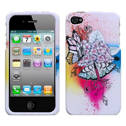 APPLE AT&T VERIZON IPHONE 4 4S 4G 16GB AND 32GB HARD PLASTIC DESIGN WHITE PINK YELLOW PURPLE SPLATTERS BUTTERFLIES BOUQUET SNAP ON CASE COVER