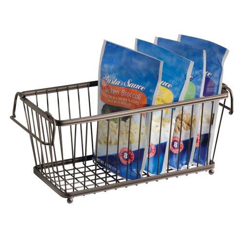 Kitchen Stackable Pantry Storage Organizer Basket 12 In Space Saver Bronze Wire Ebay