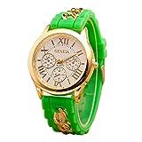 Mujer cuarzo reloj de la jalea dorado silicona reloj para Hombres Unisex negro Navidad feliz cumplea�os regalo - ofertas studyingstore Verde A