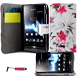 Magic Global Gadgets® Cream & Pink Flowers Printed Pu Leather Book Wallet Magnetic Flip Case For Sony Xperia Miro ST23i / ST23A Premium Stylish Pouch Cover Holster + Built In Card Slots / Cash Compartment + Built In Media Stand With Screen Protector Guard & Mini Capacitive Stylus Pen