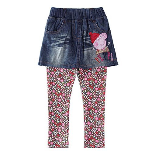 Peppa Pig Girls Kids Leggings Pants Polka Dot Skinny Trousers Denim skirts,1-6Y