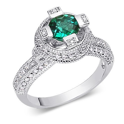 Exclusive 1.00 carat Round Shape Checker Board Created Emerald & White CZ Size 8 Gemstone Ring in Sterling Silver Rhodium Finish