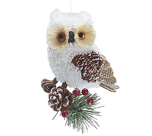 Country Rustic White Owl Christmas Ornaments - Holiday Ornament Single Pack