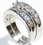 Ah! Jewellery. Stunning Rhodium Electroplated Ring Band Set. Lab Created Flawless 6mm Diamond Ring and Matching Half Eternity Band. Classic Design.