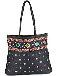 Women Cottage Black Cotton Border Patch Work Bag