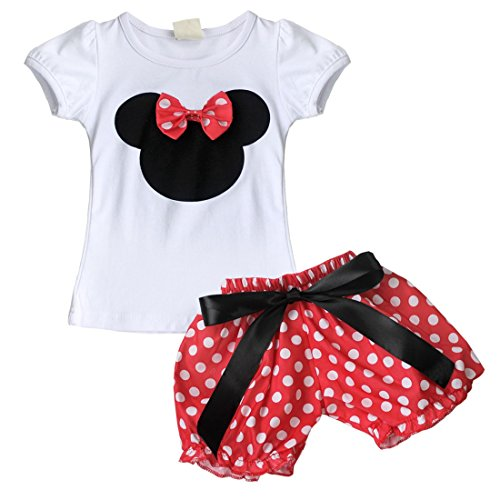 [YiZYiF Baby Girl Minnie Mouse Bow T-Shirt Top Skirt/Pants Dress 2 Pieces Outfits Set Red Shorts 6-12] (Minnie Mouse Outfit For Babies)