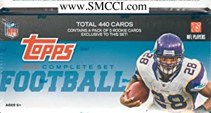 2010 Topps Football Factory Sealed Set Which Includes the Complete 440 Card Series Plus 5 Exclusive Bonus Rookie Cards! Includes Sam Bradford, Tim Tebow, Brett Favre, Adrian Peterson, Tony Romo, Peyton Manning, Tom Brady and Many Others!