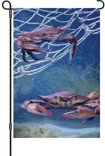 Premier 51925 Garden Brilliance Flag, Ocean Blue Crab, 12 by 18-Inch
