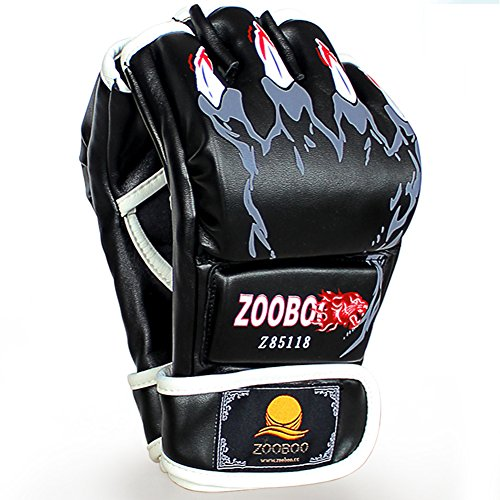 GranVela-ZOOBOO-Half-finger-Boxing-Gloves-with-Velcro-Wrist-Band-for-MMA-Muay-Thai-Training-Fit-All-Sizes-Hand