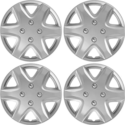 """14"""" Silver Lacquer Finish Hubcaps Wheel Covers Brand New Set of 4 Pieces WC-7SL-14"""
