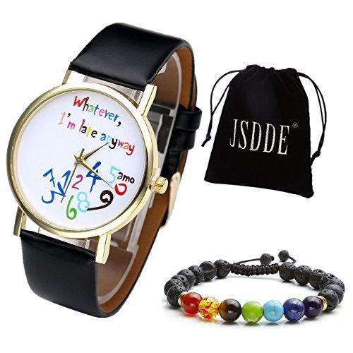 jsdde-montre-bracelet-analogique-avec-lecrits-droles-colore-whatever-im-late-anyway-peu-importe-je-s