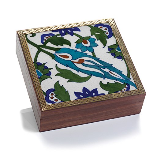 Blue Floral Tile Shesham Wood Decorative Box
