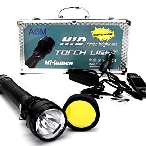 AGM 85W HID XENON Outdoor Licht Taschenlampe Fokus Flashlight Torch Hand Light Campinglampe Jagd mit 7800mAh Akku NIB KIT SET  Überprüfung und Beschreibung