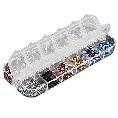 3000 Brillantini Strass Adesivi Glitter Unghie Ricostruzione Nail Art 12 Colori