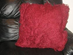 "Greek Flokati Wool Pillow 2/sided w/zipper 28""x28"" (Burgundy)"