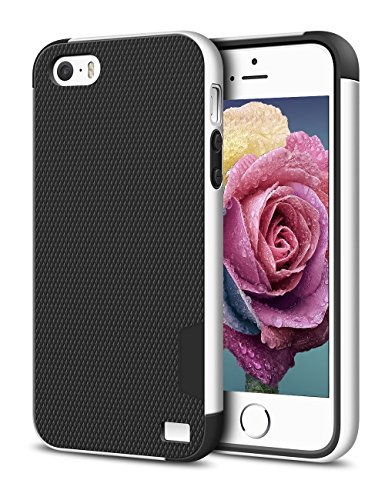 iPhone 5/5S SE Case, EXSEK Hybrid Ultra Slim 3 Color Case Shockproof [Anti-Slip] [Extra Front Raised Lip] Scratch Resistant Soft Gel Bumper Rugged Case for iPhone 5/5S (Black) (Slim Iphone 5 Bumper compare prices)
